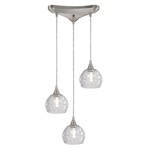 Elk Lighting Elk Lighting Kersey Satin Nickel Multi-Light Pendant with Bowl / Dome Shade 10456/3