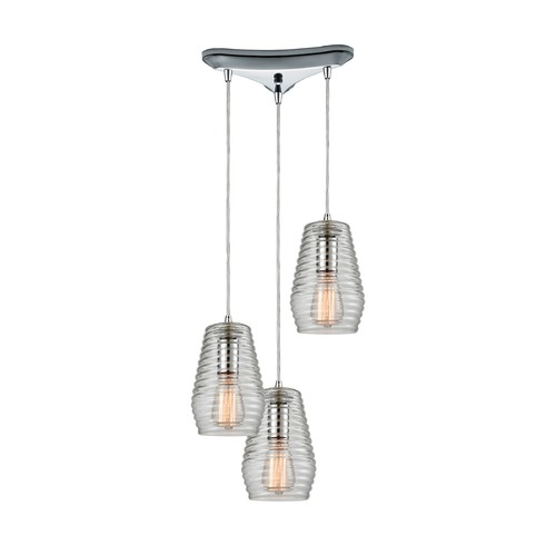Elk Lighting Elk Lighting Ribbed Glass Polished Chrome Multi-Light Pendant with Fluted Shade 10523/3