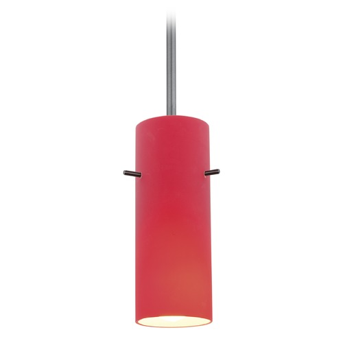 Access Lighting Access Lighting Cylinder Brushed Steel LED Mini-Pendant Light with Cylindrical Shade 28030-3R-BS/RED