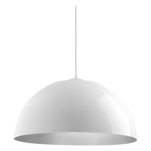 Progress Lighting Farmhouse LED Mini-Pendant Light White Dome by Progress Lighting P5340-3030K9