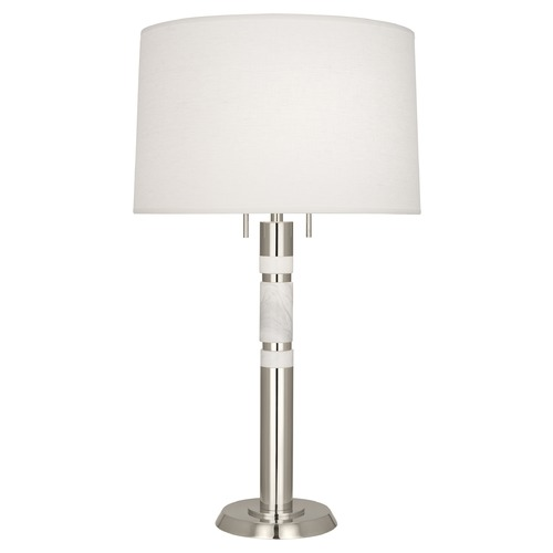 Robert Abbey Lighting Robert Abbey Lighting Hudson Polished Nickel / White Marble Accents Table Lamp with Drum Shade S215
