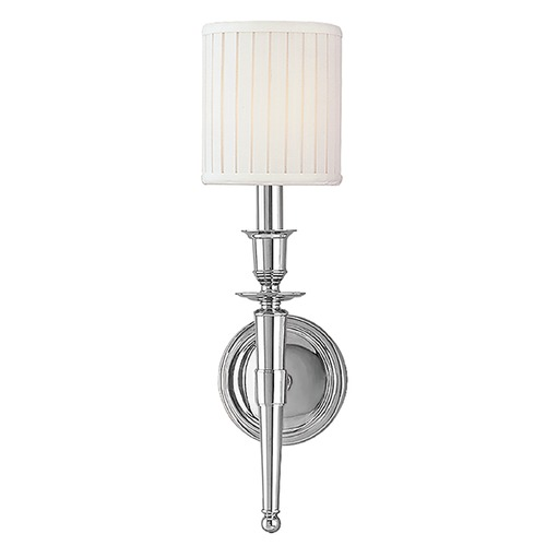 Hudson Valley Lighting Sconce Wall Light with White Shade in Polished Nickel Finish 4901-PN