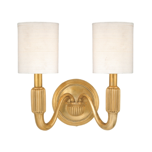 Hudson Valley Lighting Sconce Wall Light with White Shades in Aged Brass Finish 402-AGB