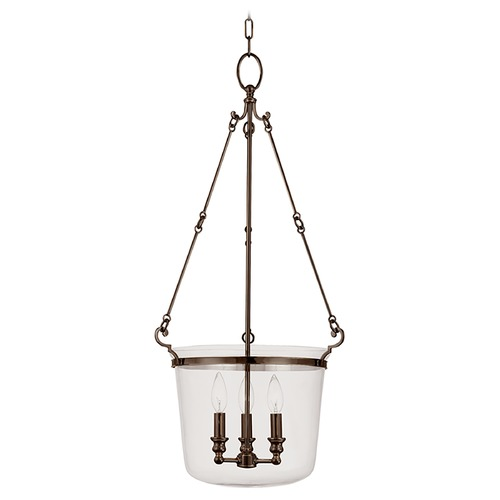 Hudson Valley Lighting Drum Pendant Light with Clear Glass in Old Bronze Finish 133-OB