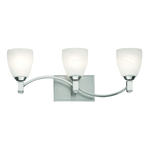Philips Lighting Modern Bathroom Light with White Glass in Satin Nickel Finish F442536