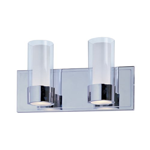 Maxim Lighting Modern Bathroom Light with Clear Glass in Polished Chrome Finish 23072CLFTPC