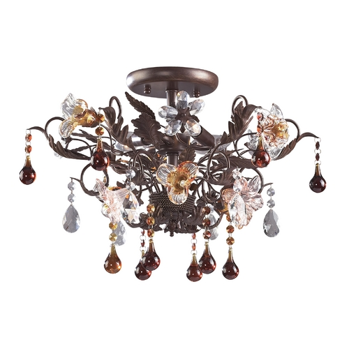 Elk Lighting Semi-Flushmount Light in Deep Rust Finish 7044/3