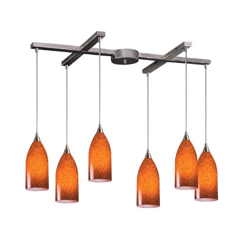 Elk Lighting Modern Multi-Light Pendant Light with Art Glass and 6-Lights 502-6ES