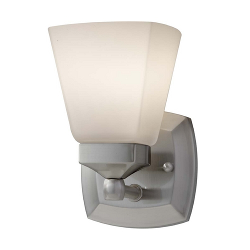 Feiss Lighting Sconce with White Glass in Brushed Steel Finish VS19901-BS