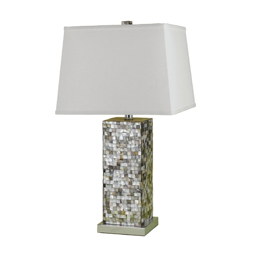 AF Lighting Modern Table Lamp with White Shade in Mosaic Finish 6671-TL