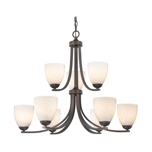 Design Classics Lighting Bronze Chandelier with White Art Glass Bell Shades and Nine Lights 586-220 GL1020MB