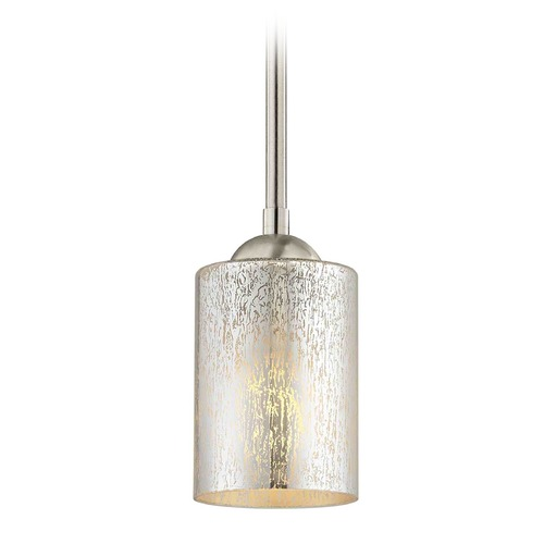Design Classics Lighting Design Classics Gala Fuse Satin Nickel LED Mini-Pendant Light with Cylindrical Shade 681-09 GL1039C