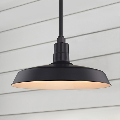 Recesso Lighting by Dolan Designs Black Pendant Barn Light with 18