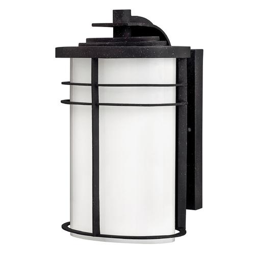 Hinkley Lighting Outdoor Wall Light with White Glass in Vintage Black Finish 1124VK-GU24