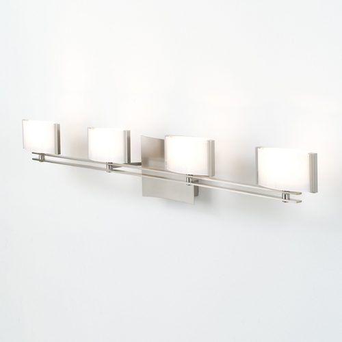 Holtkoetter Lighting Holtkoetter Modern Bathroom Light with White Glass in Satin Nickel Finish 5584 SN GB50