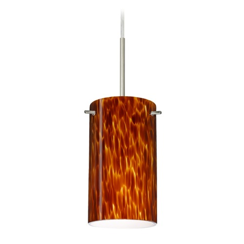 Besa Lighting Besa Lighting Stilo Satin Nickel LED Mini-Pendant Light with Cylindrical Shade 1BT-440418-LED-SN