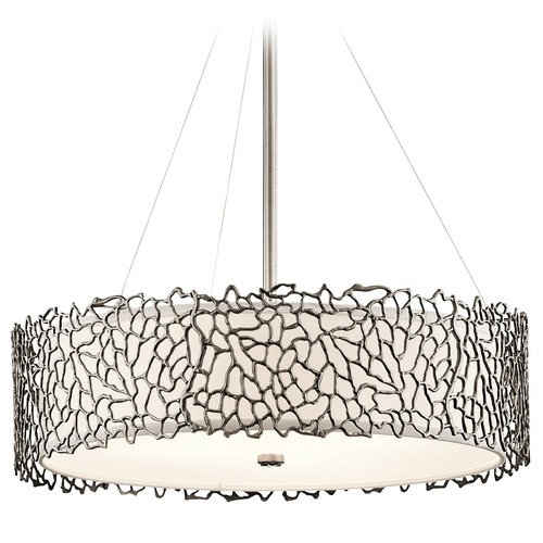 Kichler Lighting Kichler Lighting Silver Coral Classic Pewter Pendant Light with Drum Shade 43347CLP
