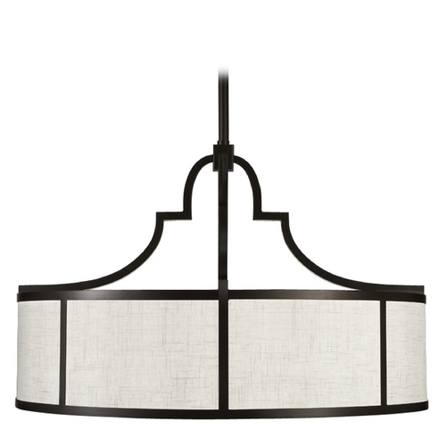 Fine Art Lamps Fine Art Lamps Black + White Story Black Satin Lacquer Pendant Light with Drum Shade 601840-6ST