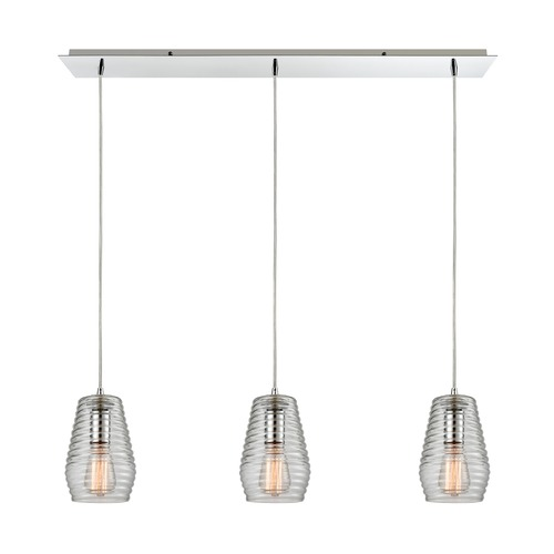 Elk Lighting Elk Lighting Ribbed Glass Polished Chrome Multi-Light Pendant with Fluted Shade 10523/3LP