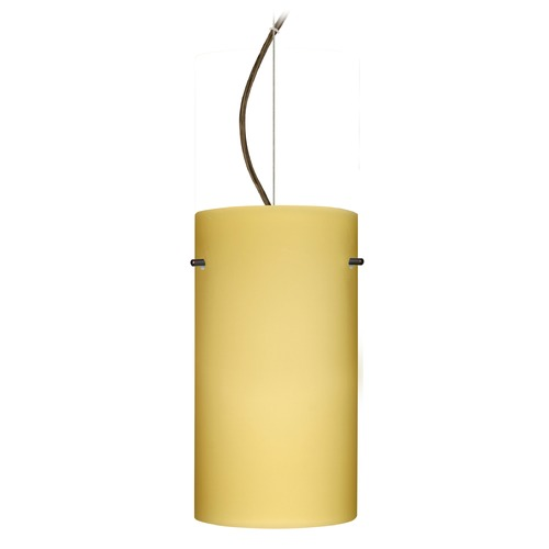 Besa Lighting Besa Lighting Tondo Bronze LED Pendant Light with Cylindrical Shade 1KX-4120VM-LED-BR