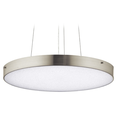 Elan Lighting Elan Lighting Crystal Moon Brushed Nickel LED Pendant Light with Drum Shade 83789