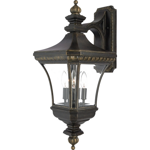 Quoizel Lighting Outdoor Wall Light with Clear Glass in Imperial Bronze Finish DE8961IB