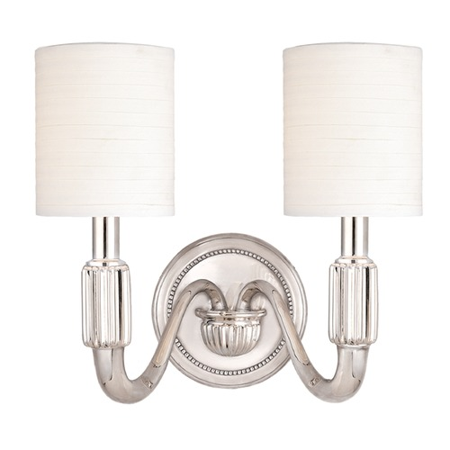 Hudson Valley Lighting Sconce Wall Light with White Shades in Polished Nickel Finish 402-PN