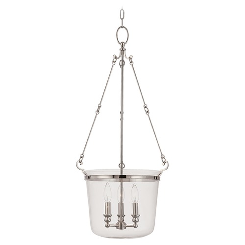Hudson Valley Lighting Drum Pendant Light with Clear Glass in Polished Nickel Finish 133-PN