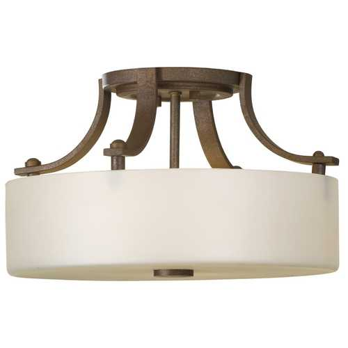 Feiss Lighting Modern Semi-Flushmount Light with White Glass in Corinthian Bronze Finish SF259CB