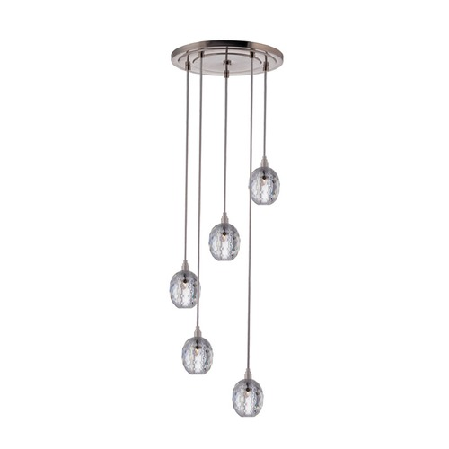 Hudson Valley Lighting Modern Multi-Light Pendant Light with Clear Glass and 5-Lights 3515-SN-S-002