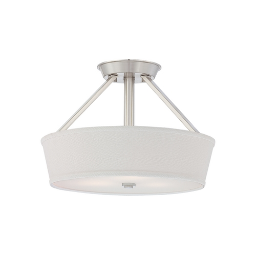 Quoizel Lighting Modern Semi-Flushmount Light with White Shade in Brushed Nickel Finish WV1716BN