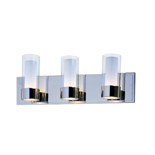 Maxim Lighting Modern Bathroom Light with Clear Glass in Polished Chrome Finish 23073CLFTPC