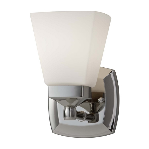 Feiss Lighting Sconce with White Glass in Polished Nickel Finish VS19901-PN