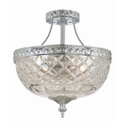 Crystorama Lighting Semi-Flushmount Light with Clear Glass in Polished Chrome Finish 118-10-CH
