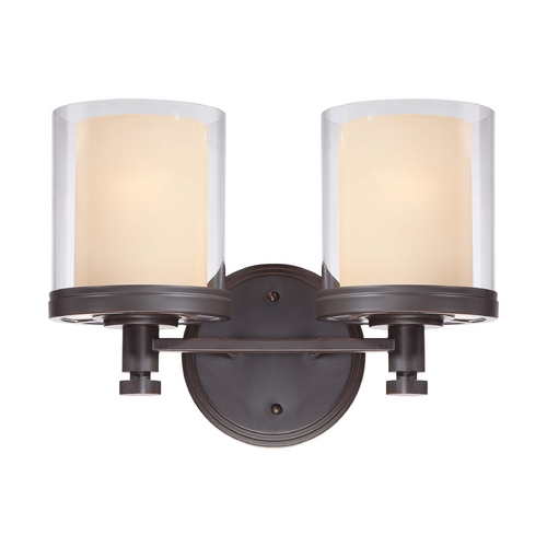 Nuvo Lighting Modern Bathroom Light with Beige / Cream Glass in Sudbury Bronze Finish 60/4542