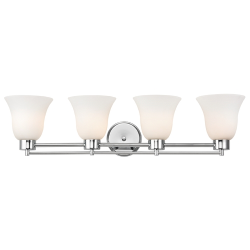Design Classics Lighting Modern Bathroom Light with White Glass - Four Lights 704-26 GL9222-WH