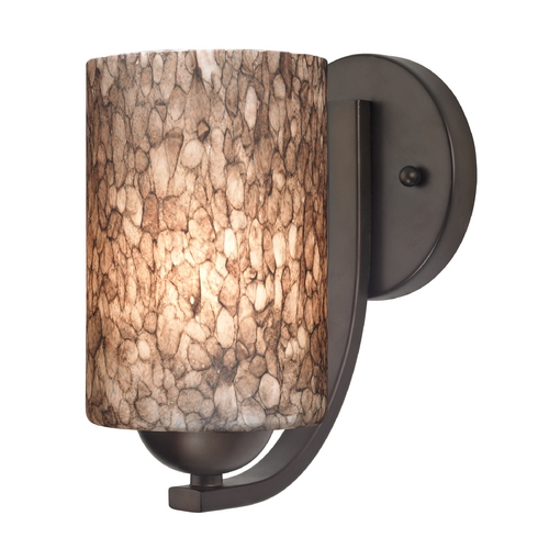 Design Classics Lighting Sconce with Brown Art Glass in Bronze Finish 585-220 GL1016C