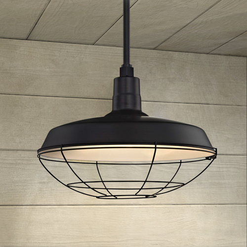 Recesso Lighting by Dolan Designs Black Pendant Barn Light with 18-Inch Caged Shade BL-STM-BLK/BL-SH18-BLK/BL-CG18-BLK