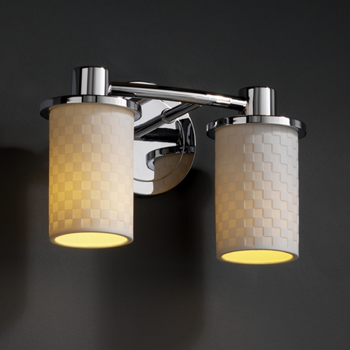 Justice Design Group Justice Design Group Limoges Collection Bathroom Light POR-8512-10-CHKR-CROM
