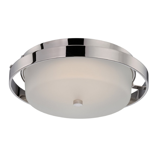 Nuvo Lighting Modern LED Flushmount Light with White Glass in Polished Nickel Finish 62/182
