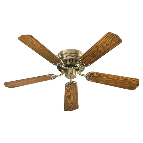 Hugger Ceiling Fans Without Light: Quorum Lighting Hugger Antique Brass Ceiling Fan Without
