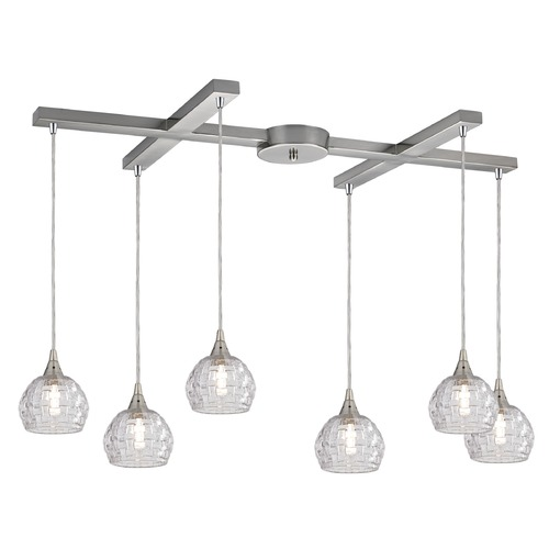 Elk Lighting Elk Lighting Kersey Satin Nickel Multi-Light Pendant with Bowl / Dome Shade 10456/6
