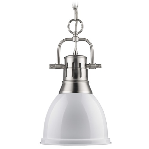 Golden Lighting Golden Lighting Duncan Pewter Mini-Pendant Light 3602-S PW-WH