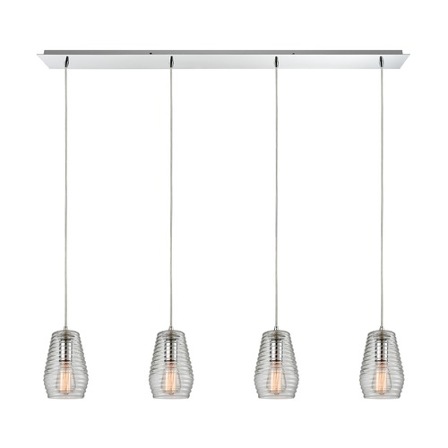 Elk Lighting Elk Lighting Ribbed Glass Polished Chrome Multi-Light Pendant with Fluted Shade 10523/4LP
