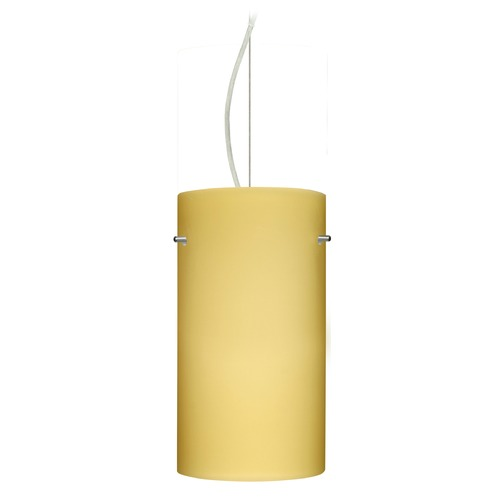 Besa Lighting Besa Lighting Tondo Satin Nickel LED Pendant Light with Cylindrical Shade 1KX-4120VM-LED-SN