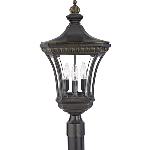 Quoizel Lighting Post Light with Clear Glass in Imperial Bronze Finish DE9256IB