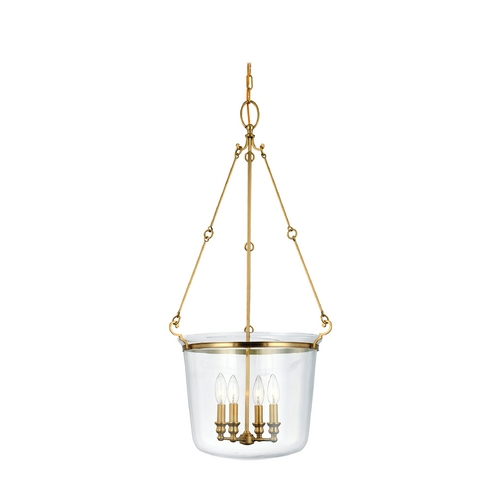 Hudson Valley Lighting Drum Pendant Light with Clear Glass in Aged Brass Finish 134-AGB