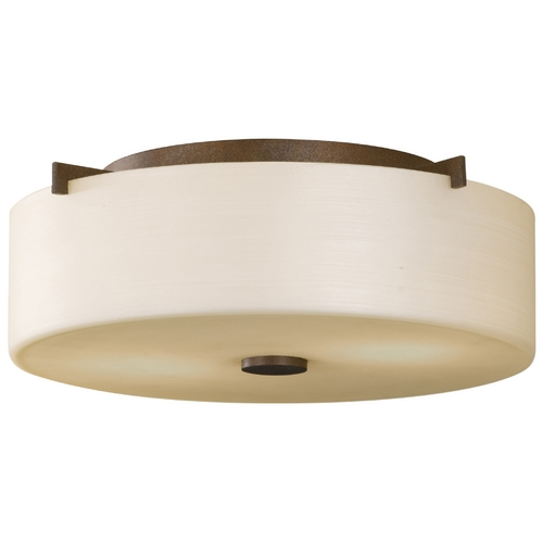Feiss Lighting Modern Flushmount Light with White Glass in Corinthian Bronze Finish FM313CB