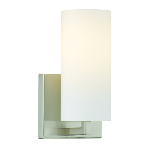 Philips Lighting Modern Sconce Wall Light with White Glass in Satin Nickel Finish F450536