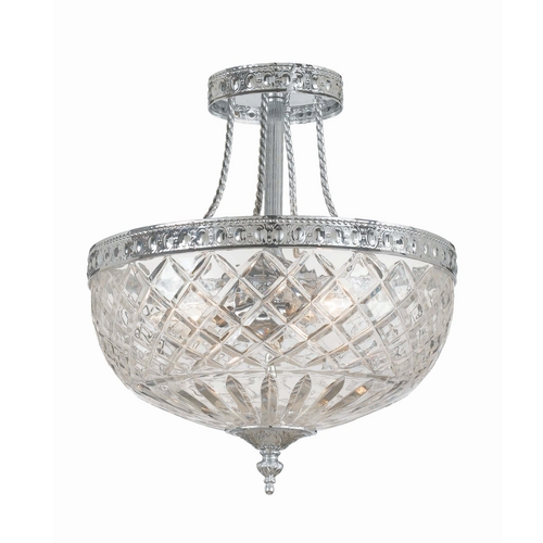 Crystorama Lighting Crystal Semi-Flushmount Light with Clear Glass in Polished Chrome Finish 118-12-CH